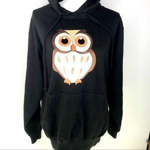 NWOT Black Owl Hoodie L/XL